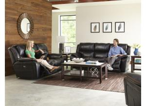 CATNAPPER BECKETT BLACK SOFA, CONSOLE LOVESEAT, & ROCKER-RECLINER,CATNAPPER
