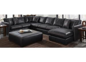 JACKSON TUCKER BLACK SECTIONAL & OTTOMAN,JACKSON